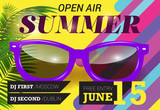 Open air, summer, June fifteen lettering with purple sunglasses. Summer invitation design. Typed text, calligraphy. For leaflets, brochures, posters or banners.