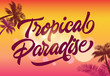 Tropical paradise greeting card template with palm silhouettes and sunset in background. Text can be used for banners, posters, invitations, postcards