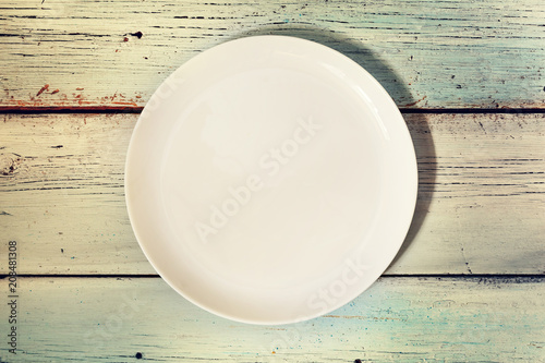 Top view, empty, plate, wooden background, Cuisine, menu, food concept, copy space - 208481308