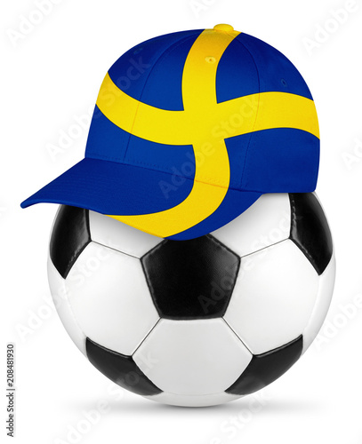 Classic black white leather soccer ball with sweden swedish flag baseball fan cap isolated background sport football concept