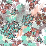 Beautiful tropical pattern with flowers and palm leafs - 208483703