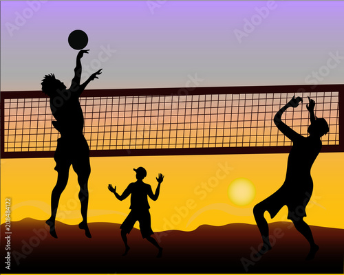 Fototapeta Beach volleyball players at sunset - silhouette