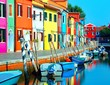 island of Burano near Venice photographed with the technique of long exposure with vivid colors