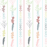 Floral rustic pattern with pastel colored pastel branches - 208485533