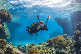 Diver with video camera near the coral reef, Red Sea, Egypt - 208485944