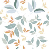 Floral vector clean pattern with simple green leafs - 208485946