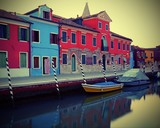 Burano near Venice photographed with the technique of long exposure to give a sense of stillness to water - 208486303
