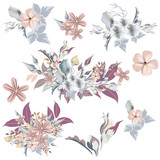 Set of vector elegant flowers in vintage style, ideal for wedding design and invitations - 208486314