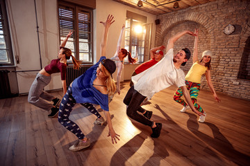 Professional dancer exercising dance training in studio