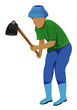 agriculturist with shovel vector design - 208489384