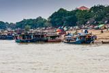 Tour boats at the river bank of the Irrawaddy River, Mandalay, Myanmar - 208491733