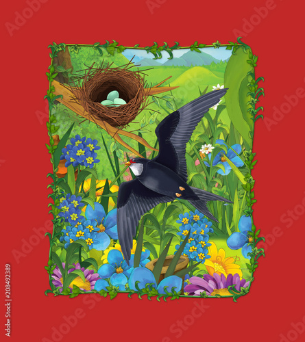Fotobehang Rood traf. cartoon scene with beautiful cuckoo bird flying over the meadow - illustration for children