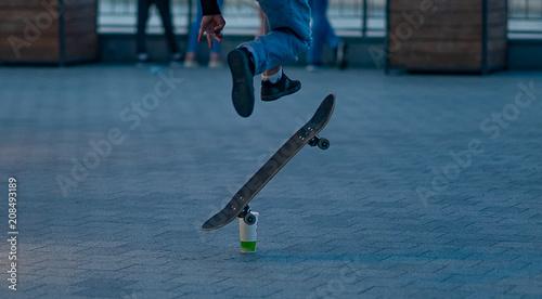 Fotobehang Skateboard the guy is engaged on a skateboard