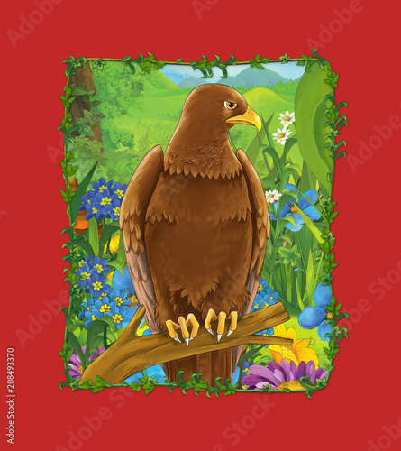 Fotobehang Rood traf. cartoon scene with beautiful bird on the meadow - eagle - illustration for children