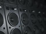 Multimedia  acoustic sound speaker system. Music  concept background. - 208495113