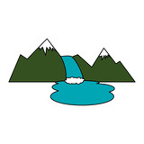 mountains with waterfall scene vector illustration design