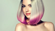 Leinwanddruck Bild - Beautiful hair coloring woman. Fashion Trendy haircut.Ombre bob short hairstyle. Blond model with short shiny hairstyle. Concept Coloring Hair. Beauty Salon