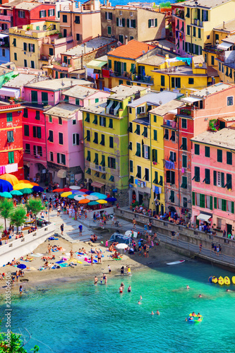 Old bright colorful houses in Manarola, Cinque Terre, Italy. Architecture and landmark of Italy