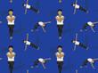 Manga Yoga Man Eagle Pose Background Seamless Wallpaper