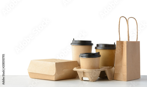 Fast food and drink packaging set isolated on white