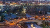 View on Key bridge at dusk: timelapse of dat to night transition, Washington DC, USA - 208510962