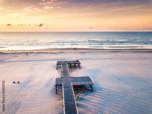 Fotobehang Zonsopgang Sunrise over the ocean aerial view