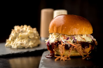 Pulled Pork sandwich with a heaping helping of potato salad