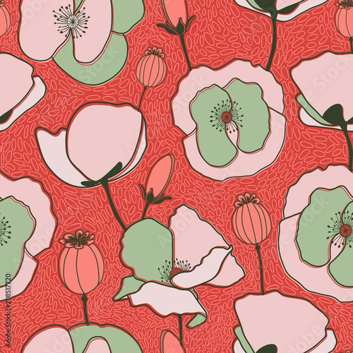 Hand Drawn Poppy Flowers Vector Patterns - 208517720