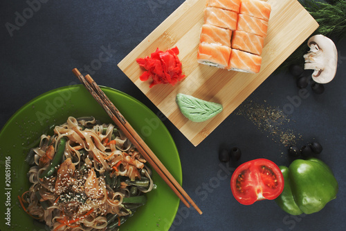 place for text noodles vegetables sushi rolls - 208519116