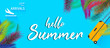 Arrivals sign with Summer vacation background vector.