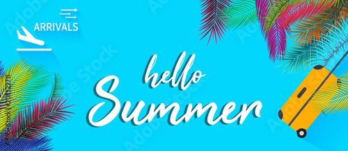 Arrivals sign with Summer vacation background vector. - 208522711