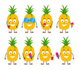 Set of funny cartoon summer pineapple character - 208524103