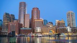 View on Boston city center at sunrise: timelapse of night to day transition - 208526738