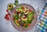 Avocado salad with sprouts tomatoes spinach - 208527322