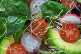 Avocado salad with sprouts tomatoes spinach - 208527344