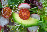 Avocado salad with sprouts tomatoes spinach - 208527376