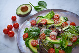 Avocado salad with sprouts tomatoes spinach - 208527390