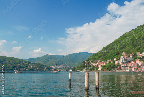 small villages clinging to the sides of the mountains and overlooking Lake Como, Italy