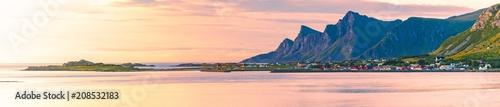 Leinwanddruck Bild Landscape at sunset in Norway, Europe