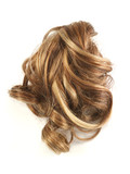 Brown and blonde hair curls on a white background - 208536130