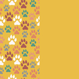 Card with dog track seamless pattern and empty space. Vector illustration. - 208536948
