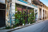HABANA, CUBA-JANUARY 11: City street on January 11, 2018 in Habana, Cuba. Street view of Habana