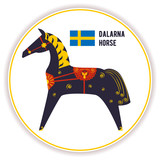 Sticker Dolenska blue horse in harness. Based on the Northern folk crafts. Swedish flag. Tourist souvenir. Vector.