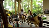 Bright horse carousel spinning with children - view from inside - 208546111
