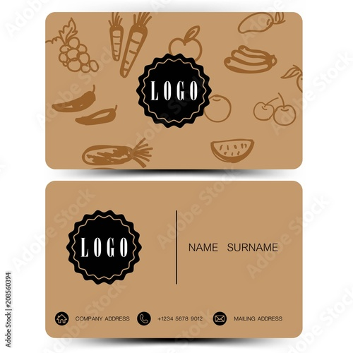 Brown color. business card design doodle concept. Vegetables and fruits.  - 208560394