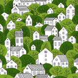 trees and houses seamless pattern summer green colors - 208560923