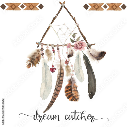 isolated-watercolor-decoration-bohemian-dreamcatcher-boho-feathers-decoration-native-dream-chic-design-mystery-ethnic-tribal-print-american-culture-design-gypsy-ornament-dream-catcher