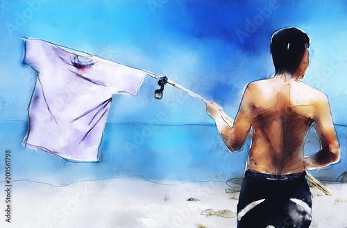 Castaway man on tropical island needs help. Digital painting image. - 208561798