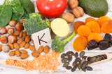 Fruits and vegetables containing vitamin K, minerals and dietary fiber, healthy nutrition concept