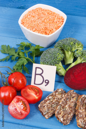Nutritious different ingredients containing vitamin B9, natural minerals and folic acid, healthy nutrition concept